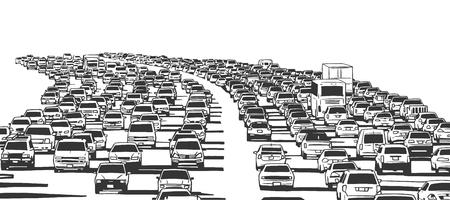 Illustration pour Illustration of rush hour traffic jam on freeway - image libre de droit