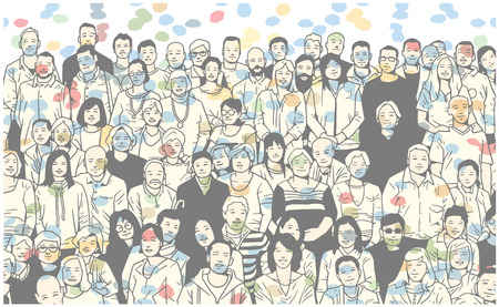 Illustration pour Stylized illustration of large group of people smiling and posing for a photograph - image libre de droit