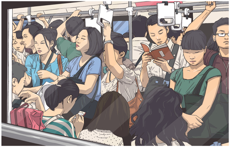 Illustrazione per Illustration of crowded metro, subway cart in rush hour - Immagini Royalty Free