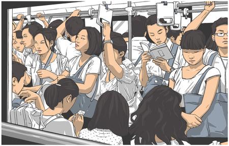 Illustration pour Illustration of crowded metro, subway cart in rush hour - image libre de droit