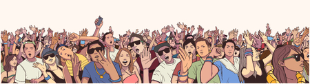 Illustrazione per Stylized illustration festival crowd at live concert partying and having fun in panorama - Immagini Royalty Free