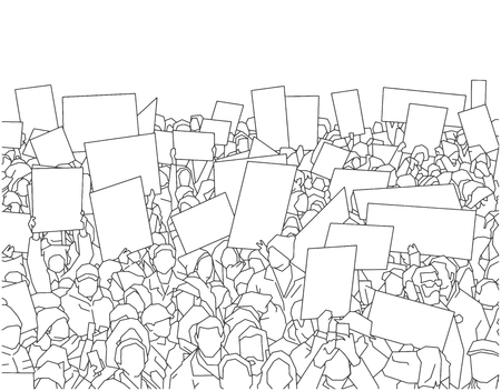 Illustration pour Illustration of large crowd of people demonstrating with blank signs - image libre de droit