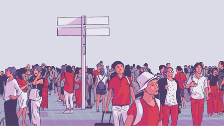 Illustration pour Illustration of crowded city public transport train station with tourists and locals commuting - image libre de droit