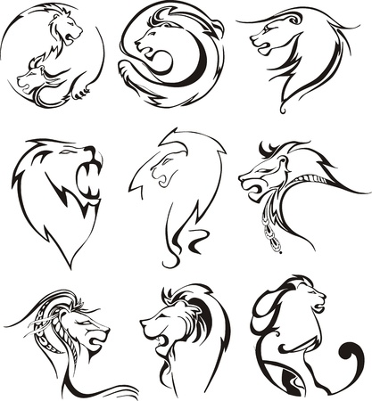 Stylized lion heads. Set of black and white vector illustrations.