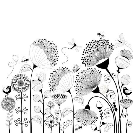 Illustration pour Card with black and white flowers - image libre de droit