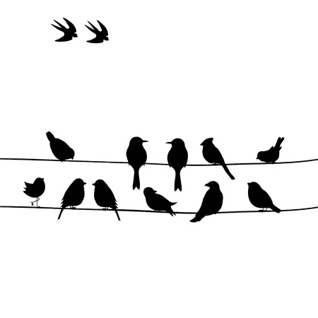 Illustration pour Cute black birds on a wire - image libre de droit
