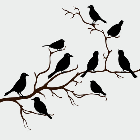 Illustration pour Cute black birds on a branch - image libre de droit