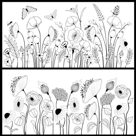 Illustration pour Set of floral banners in white and black - image libre de droit