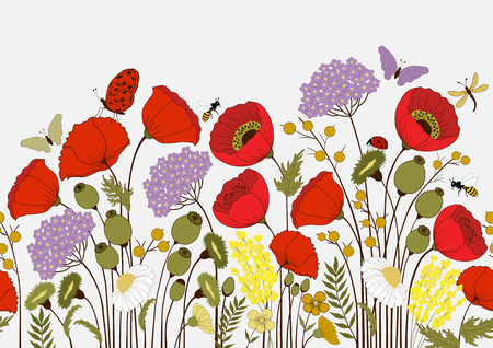Illustration pour Seamless pattern with  flowers and butterflies - image libre de droit