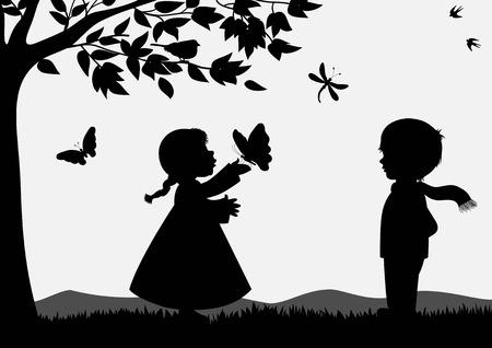 Ilustración de Cute kids silhouettes - Imagen libre de derechos