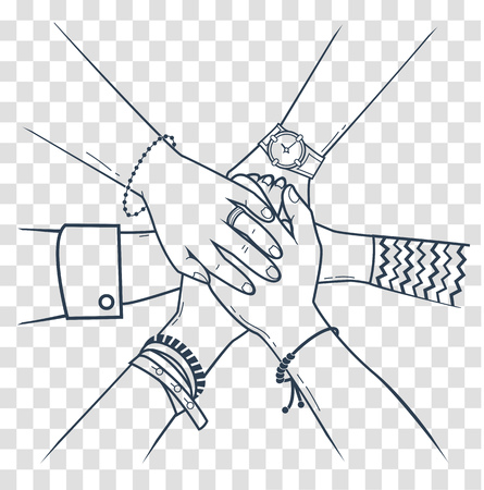 Illustration pour The concept of friendship and support in the form people making pile of hands. Icon, silhouette in the linear style - image libre de droit