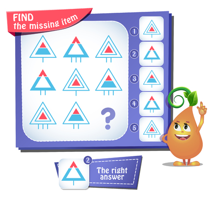 Illustration pour Educational game for kids and adults, puzzle. development of logic, iq. Task game find the missing item - image libre de droit