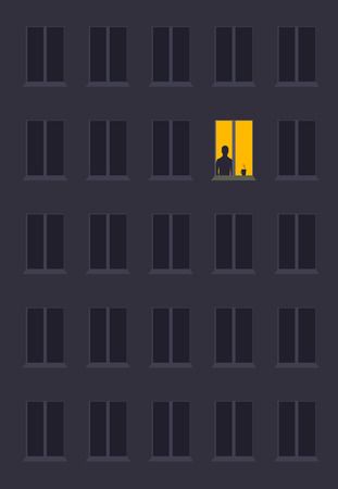 Illustration pour concept of loneliness, in the form of a silhouette of a man in the city night window. symbol of expectation and thoughtfulness - image libre de droit