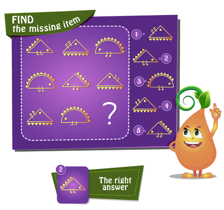 Illustration pour educational game for kids and adults development of logic, iq. Task game for children find the missing item - image libre de droit