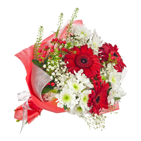 Photo pour Colorful flower bouquet in red paper isolated on white background. Closeup. - image libre de droit