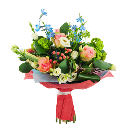 Flower bouquet from multi colored roses, iris and other flowers arrangement centerpiece isolated on white background.