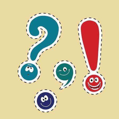 Illustration pour set of funny smiley punctuation, pop art comic illustration. Dot, comma, question mark, exclamation point. color label sticker - image libre de droit
