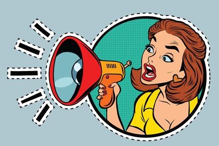 Illustration pour Comic woman agitator shouts into a megaphone, pop art retro comic book illustration. sticker label form - image libre de droit