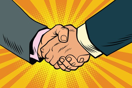 Illustration pour Business handshake, partnership and teamwork, pop art retro comic book illustration - image libre de droit