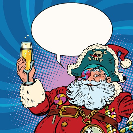 Santa Claus pirate champagne toast. Pop art retro vector illustration. New year and Christmas