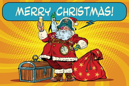 Santa Claus pirate wishes merry Christmas. Pop art retro vector illustration. Christmas character with a penguin on his shoulder. champagne toast