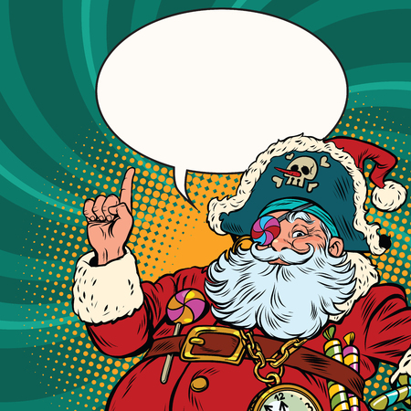 Santa Claus pirate pointing gestures. Pop art retro vector illustration. New year and Christmas