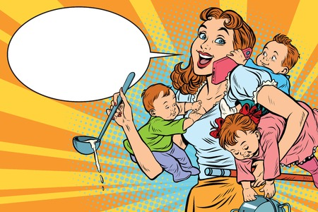 Illustration pour Cheerful mother with three children working and talking on the phone. Comic pop art illustration vector drawing - image libre de droit
