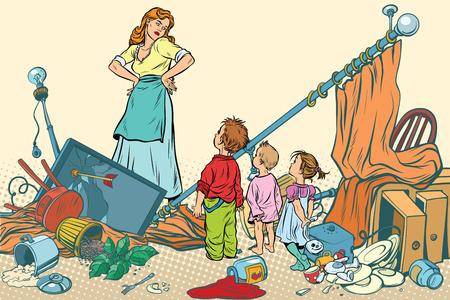 Ilustración de Terrible mother and the kids made a mess at home. Comic book cartoon pop art retro color vector illustration hand drawn - Imagen libre de derechos