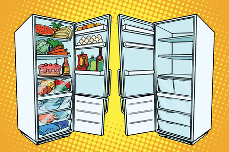 Illustration pour Two refrigerators. One with food and the other empty. Comic cartoon style pop art retro vector color drawing illustration - image libre de droit