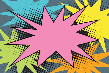 Illustration pour Pink comic burst explosion pop art. Cartoon style retro color picture illustration - image libre de droit