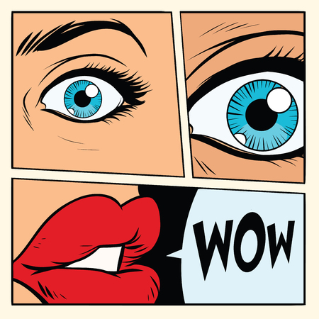 Ilustración de Comic storyboard woman wow surprised. Comic cartoon style pop art retro vector illustration - Imagen libre de derechos