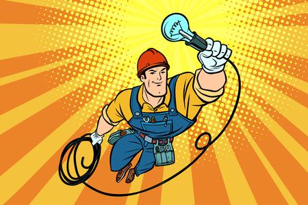 Ilustración de Worker electrician light bulb flying superhero. Comic book cartoon pop art retro vector illustration drawing - Imagen libre de derechos