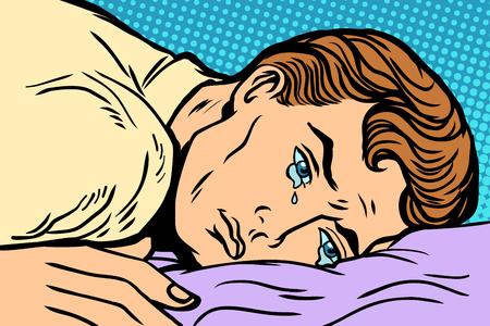 Illustration pour man lying on bed, depression grief and sadness. Comic book cartoon pop art retro Illustrator vector drawing - image libre de droit