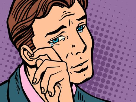 Illustration pour Pop art man wipes tears. Comic book cartoon retro Illustrator vector drawing - image libre de droit
