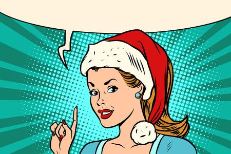 Ilustración de Santa woman pointing finger vector illustration. - Imagen libre de derechos
