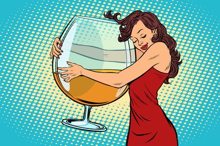 Illustration pour A woman hugging a glass of wine vector illustration. - image libre de droit