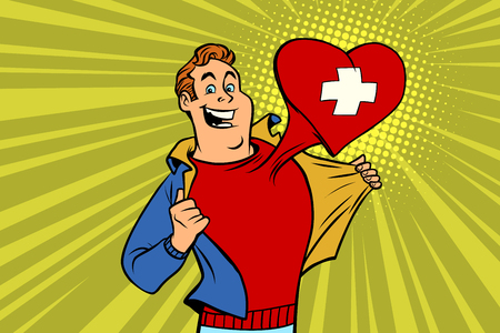 Illustration pour sports fan loves Switzerland. Heart with flag of the country. Comic cartoon style pop art illustration vector retro - image libre de droit