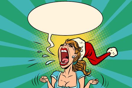 Photo for panic rage anger screaming Santa girl. Comic book cartoon pop art retro vector illustration drawing - Royalty Free Image