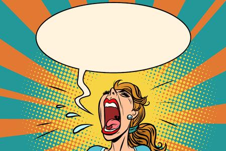 Foto de Girl pop art screams in panic. Comic book cartoon retro vector illustration drawing - Imagen libre de derechos