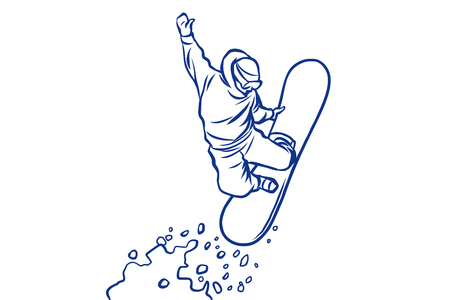 Illustration pour silhouette snowboarder jumping on a snowboard, winter sports - image libre de droit