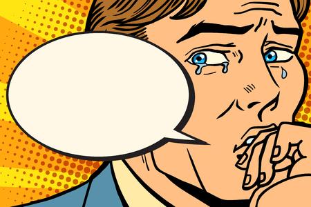 Illustration pour Retro comic man cries and says - image libre de droit