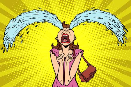 Illustration for Funny woman crying, the big tears. Comic book cartoon pop art retro illustration. - Royalty Free Image
