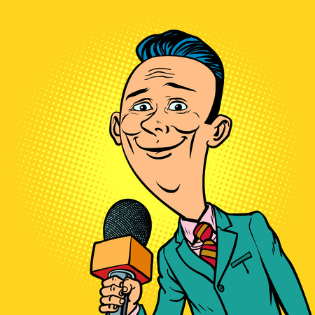 Illustration for Kind smiling reporter correspondent journalist male. television and radio, Internet broadcasting. Comic book cartoon pop art retro vector illustration drawing - Royalty Free Image