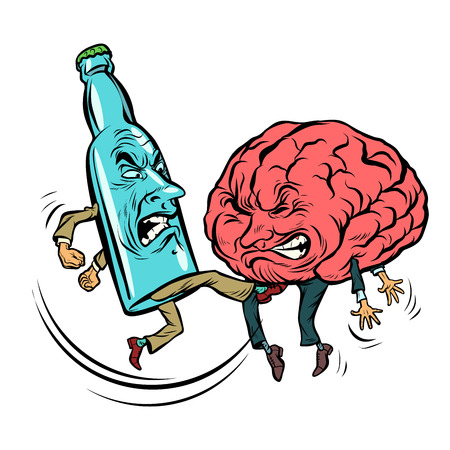 Ilustración de Alcoholism destroys the brain, drunk. fight bottle of vodka. Comic book cartoon pop art retro illustration vector - Imagen libre de derechos