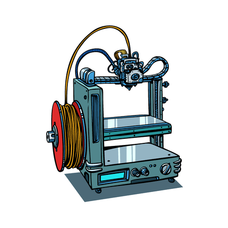 Ilustración de 3D printer manufacturing isolated on white background. Comic book cartoon pop art retro illustration vector - Imagen libre de derechos