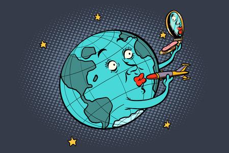 Ilustración de Earth missile painted like the lipstick - Imagen libre de derechos