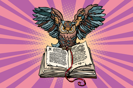 Illustration pour Owl on an old book, a symbol of wisdom and knowledge - image libre de droit