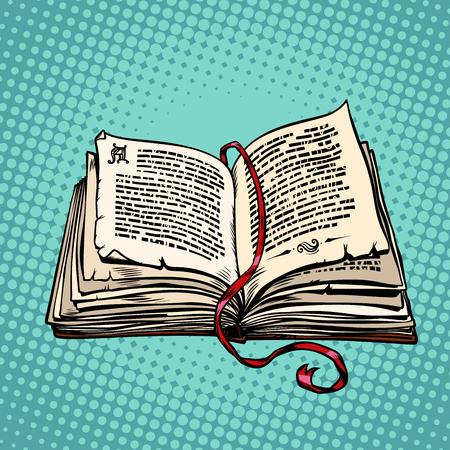 Ilustración de Open old book with text, fairy tale or novel - Imagen libre de derechos