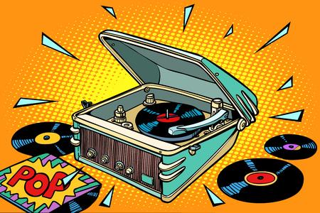 Illustration pour Pop music, vinyl records and gramophone illustration - image libre de droit