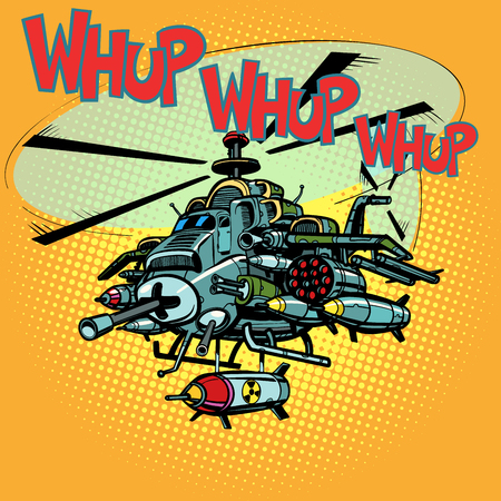 Illustration pour Military helicopter with missiles illustration - image libre de droit